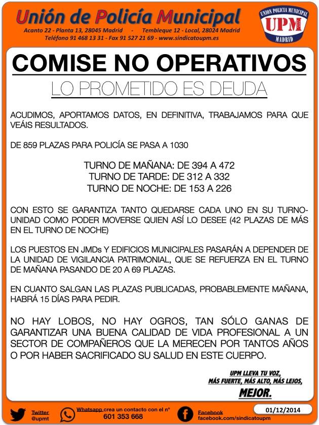 COMISE NO OPERATIVOS 1-12-14